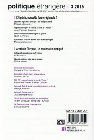 Livre  Politique Etrangere ; L'Algérie, Nouvelle Force
