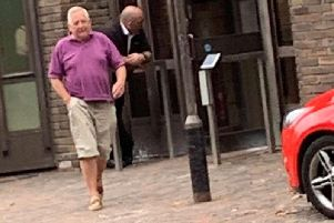 Michael Feeney, 67, leaving court after pleading guilty to two charges. Picture: SWNS