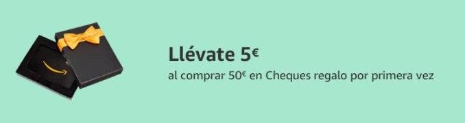 Llévate 5€ al comprar 50€ en Cheques regalo por primera vez