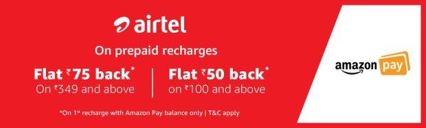 Airtel- Flat 75 back offer