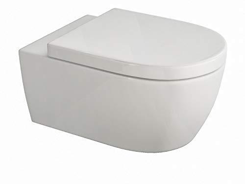 Design Hänge WC Spülrandlos Toilette inkl. WC Sitz mit Softclose Absenkautomatik + abnehmbar lang