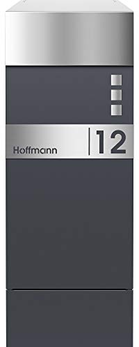 Frabox® Design Paketkasten NAMUR anthrazitgrau RAL 7016 / Edelstahl, mit Hausnummer & Namen