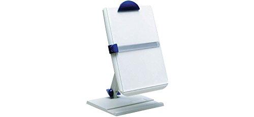 MAUL Ergonomischer Dokumentenhalter 2in1, Konzepthalter mit Fußplatte, DIN A4 Klemmbrett, Anschlagkante, Grau, 8132482, 1 Stück