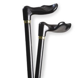 Wood cane - Black Left handle, this cane is designed to fit the hand like a glove for its palm grip handle. This cane and walking stick is very secure and comfortable and has a weight capacity of 250 pounds. This ergonomic wood cane is ideal for arthritis