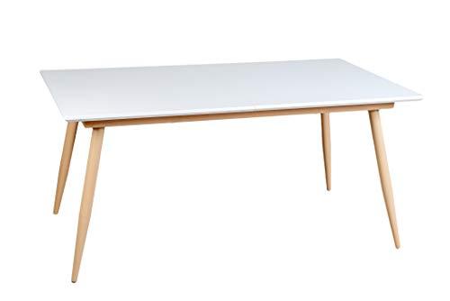 Enrico Coveri Contemporary Tavolo Moderno Allungabile in Legno Bianco, Ideale per Cucina, Sala da...