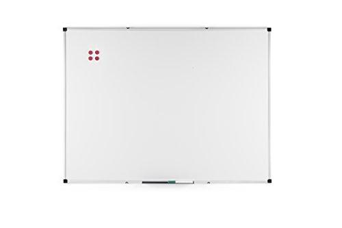 BoardsPlus, Lavagna Magnetica con Cornice Alluminio e Vassoio Portapenne, Bianco, 120 x 90 cm