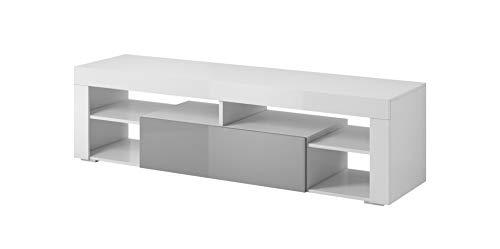 E-Com - Mobile TV Titan, 140 cm, Colore: Bianco/Grigio