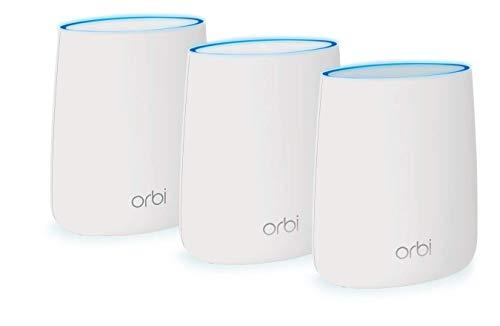 NETGEAR Orbi Wifi Mesh, 1 router mesh e 2 ripetitori, Fino a 300 Mq per case su 2 o 3 piani,...