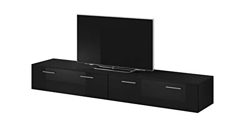 e-Com - Mobile da Soggiorno Mobile TV Porta'BOSTON' - 200 cm (2x 100 cm) - Nero