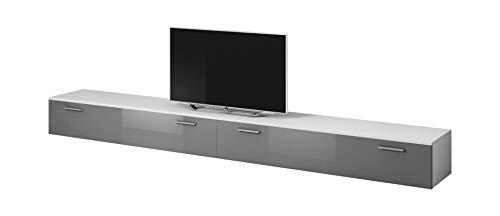 e-Com - Mobile da Soggiorno Mobile TV Porta'BOSTON' - 300 cm (2x 150 cm) - Bianco/Grigio