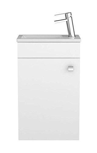 Sieper Badmöbel Gabun mobili da Bagno con lavabo e Armadio in Ceramica 400 mm Bianco Chiaro Made in...