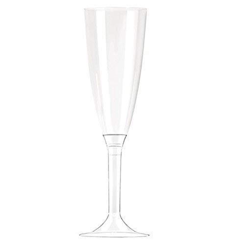 100 Flute in plastica con gambo e corpo TRASPARENTE - Flutes rigidi monouso - Calice da Spumante - 100 pezzi - bicchieri da champagne - per feste, compleanno, anniversario, matrimonio ecc.