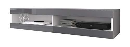 e-Com - Mobile TV Comodino per TV'VOLANT' - 150 cm - Bianco/Grigio + LED