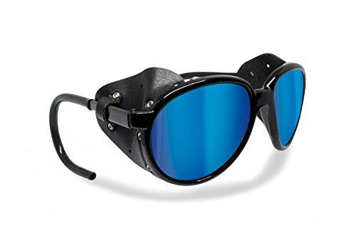 BERTONI Gafas de Sol Polarizadas de Montaña Glaciar Esqui Alpinismo Trekking - mod. Cortina by Italy – Color Negro Brillante (Polarizada Gris - Azul Espejo)