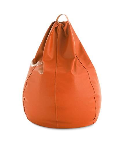 textil-home Diver-Puff - Poltrona Sacco modellabile XXL - 90X90X135 cm- Colore Arancione. Tessuto POLIPIEL Alta Resistenza - Doppio Rimbalzo - (Include Imbottitura di Palline di polistirene).