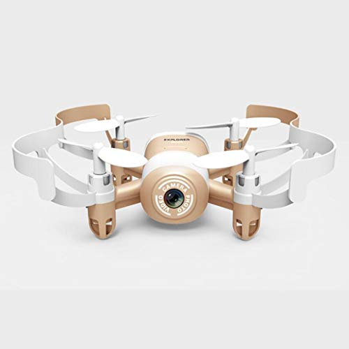 GHMOZ Aerei telecomandati for droni tascabili Adatti a Principianti, Dilettanti Altamente fissi, Vibrazione a Un Tocco, Mini quadricottero con Telecamera Aerea, (Color : Gold)