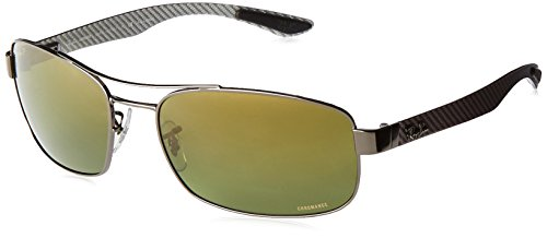 Ray-Ban Polarized Rectangular Men's Sunglasses - (0RB8318CH004/6O62|62|Green Mir Gold Gradient Polar Color)