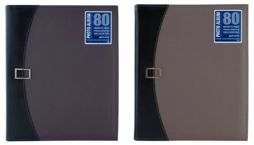 Pinnacle 80 Magnetic Page Photo Album with Buckle Closure, Green or Blue