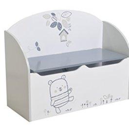 13Casa Teddy A11 Panca Contenitore, Legno, Bianco/Grigio, 55.5 x 69.5 x 29.5 cm