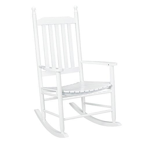 [casa.pro]®] Schaukelstuhl Weiß aus Massiv-Holz - Hochwertiger Relax-Stuhl mit Armlehne zur Entspannung oder als Still-Stuhl - Schwing-Sessel Schaukel-Sessel für Wohnzimmer Küche Balkon Garten