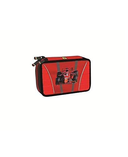 Astuccio scuola Ferrari 3 zip-scomparti originale, completo di cancelleria, penne, pennarelli,...