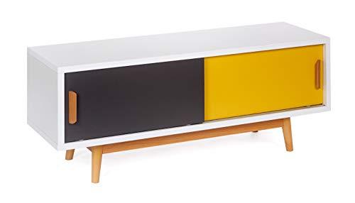 ts-ideen Mobile porta televisore 120x55 cm stile retro in Bianco Grigio e Giallo doppio sportello...