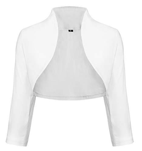 4da28cee401d52 TrendiMax Damen Eleganter Bolero Jacke Schulterjacke Kurzes Jäckchen 3/4  Ärmel,Weiß,M