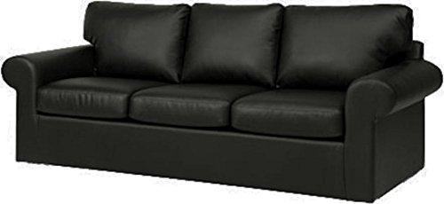 Custom Slipcover Replacement Copridivano sostitutivo, in pelle ecologica in poliuretano, per divano a 3 posti, realizzato su misura per il divano Ikea Ektorp Black Leather
