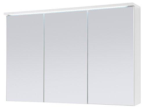 Spiegelschrank Badschrank Spiegel Badhängeschrank Badmöbel Kirkja I Weiß/Weiß 100 cm