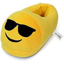 Desire Deluxe Zapatillas Casa Invierno con Figura de Emoji en Forma de Gafas Para Sol Sonriente - Pantunflas Invierno de Talla Universal para Hombre, Mujer, Niño y Niña