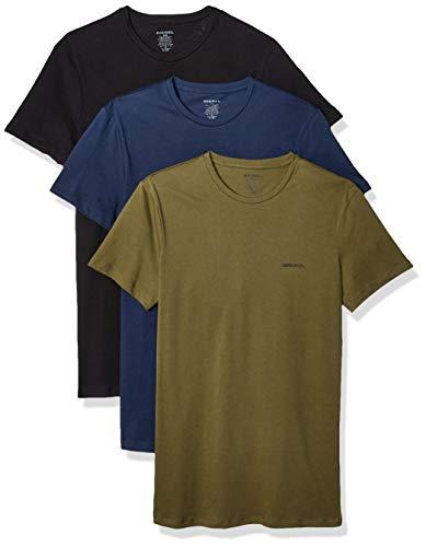 Diesel UMTEE-JAKETHREEPACK, Camiseta para Hombre, Multicolor (Black/Dress Blue/Olive Night E4079/0aalw), L, Pack de 3