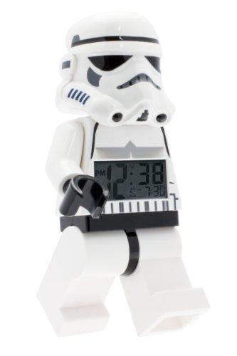 Lego Star Wars 9002137 Sturmtruppler Kinder-Wecker mit Minifigur und Hintergrundbeleuchtung, weiß/schwarz, Kunststoff, 24 cm hoch, LCD-Display, Junge/Mädchen, offiziell