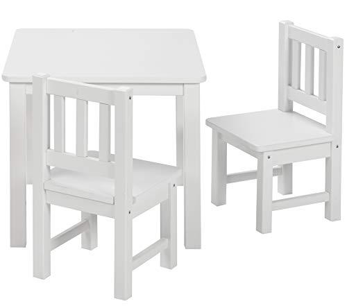 ♥ BOMI Kindertisch mit 2 Stühlen Amy | abgerundete Ecken und Kanten | aus Kiefer Massiv | Holz sitzgruppe kind | für Kleinkinder, Mädchen und Jungen Weiß