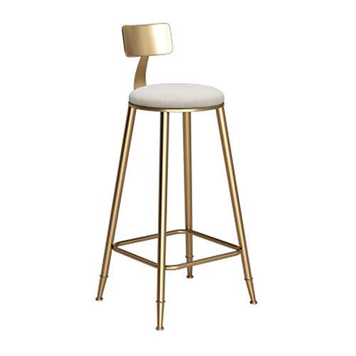 Nordic Bar Sgabello in ferro battuto creativo Golden Dining Chair per bar ristorante bar con schienale seggiolone morbido e confortevole cuscino passo sgabello da bar Sgabello alto sgabello per uffici