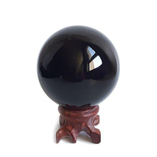 Mina Heal Sfera in Cristallo di Ossidiana da 5,6cm per Fengshui, Meditazione, guarigione, divinazione, Decorazione della casa, Ossidiana al 100% Vera e Naturale