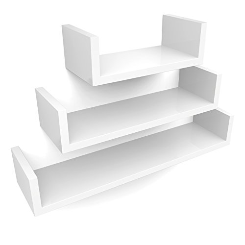 SONGMICS Wandregal 3er Set Schweberegale, MDF Holz, Tiefe 15 cm, 60/45/30 cm, weiß U-Form Wandboard LWS66W