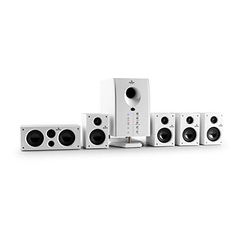 auna Areal 525 WH • Surround Sound System 5.1 • home theatre • Potenza RMS 95 W • subwoofer attivo • woofer 5,25' (13 cm) • bass reflex • Pro Logic • 5 casse satelliti • AUX • Telecomando • bianco