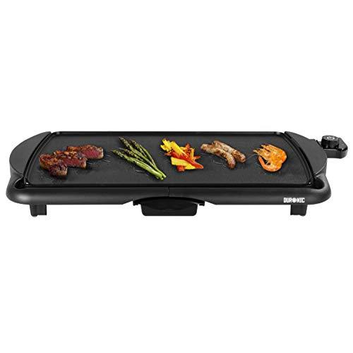 Duronic GP20 Tischgrill |Elektrogrill | Grillplatte | 52 x 27 cm Grillfläche | 2000 Watt | Antihaftbeschichtung | Thermostat | elektrisch| abnehmbarer Auffangbehälter | Kochen ohne Fett