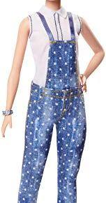 Barbie - Fashionista Muñeca con Cabello Verde Peinado y Peto Tejano (Mattel FXL57)