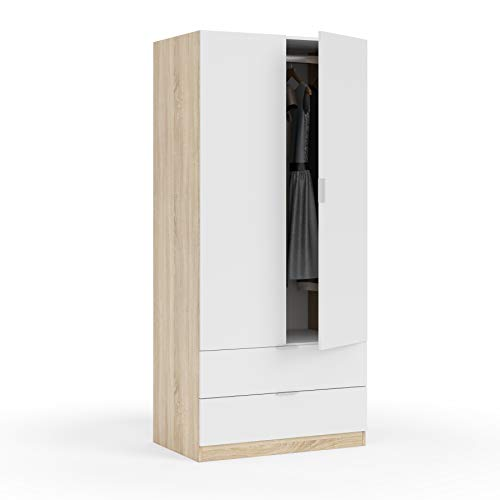 13Casa Vanilla A2 Armadio Anta Battente, 81X52X180 H cm, Bianco, Rovere, Melamina