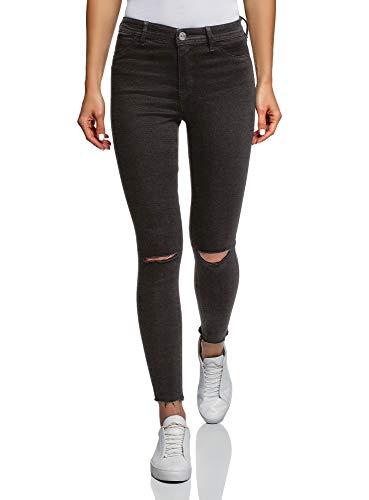 oodji Ultra Damen Skinny Jeans mit Rissen an den Knien, Schwarz, 28W /...