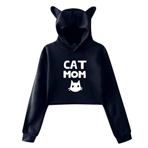 feple Donna Unicorno Stampe Hoodies Felpa con Cat Ear Popolare Manica Lunga Sweatshirt con Cappuccio Unicorno Stampate Moda Felpe Breve Paragrafo