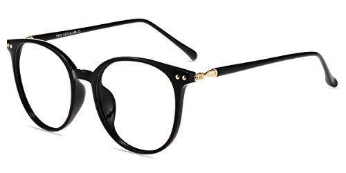 Zinff S939 Klassische Klar Beinstein Schwarz Brille Damen Brille Retro Vintage Rund Blaulichtfilter Brille PC Brille Rund Brille Herren Brille Anti Blaulicht UV-Schutz Linse ...