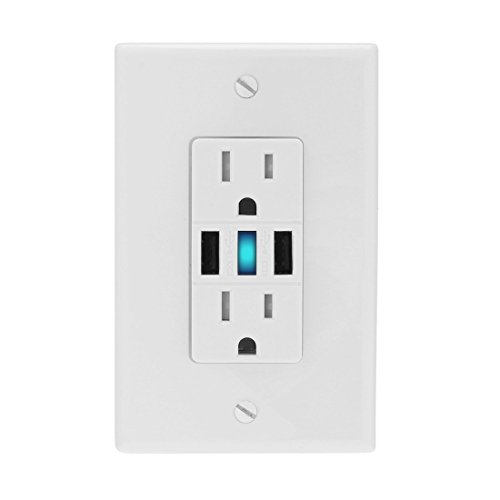 ELECTROPRIME 3.6A High Speed Tamper Resistant White Dual USB Charger Outlet 15A Receptacle Free Wall Plate UL Listed