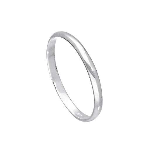 Sterling Silber 2mm Ehering in D Form Größe 60 (Erhältliche Größen: 43-65)