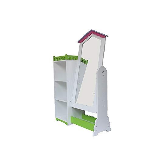 WODENY - Armadio per Bambini con Specchio White&Green
