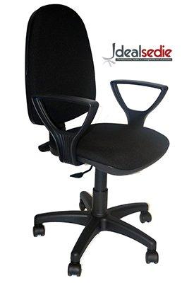 IDEALSEDIE sedia poltrona girevole da ufficio, schienale regolabile, sedile regolabile in altezza con pistone a gas, braccioli, certificata catas 626 già motata