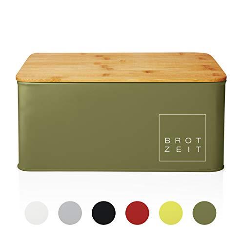 Lumaland Cuisine Brotkasten Brotdose Brotbox aus Metall mit Bambus Deckel, Brotbehälter rechteckig, 30,5 x 23,5 x 14 cm Olivgrün