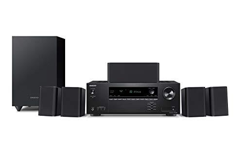 Onkyo HT-S3910(B) 5.1 sistema home cinema con ricevitore AV e altoparlante (155 W/canale, 4 K Ultra HD, Dolby Atmos, DTS:X-Playback, Bluetooth, Hi-Res Audio, Advanced Music Optimizer), Nero