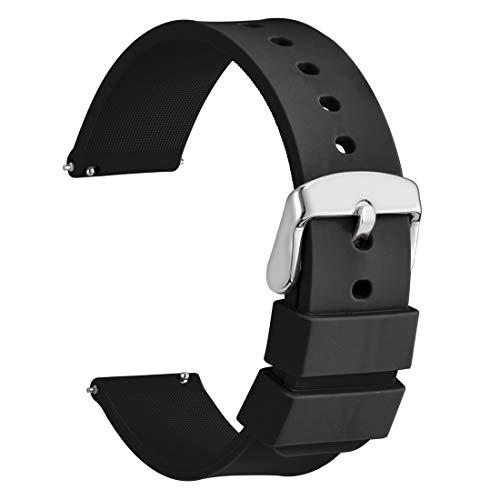 WOCCI 22mm Cinturino Orologio in Silicone, Sgancio Rapido Ricambio (Nero)